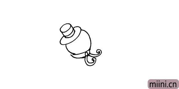 4.给雪人画上漂亮的围巾注意线条的变化。