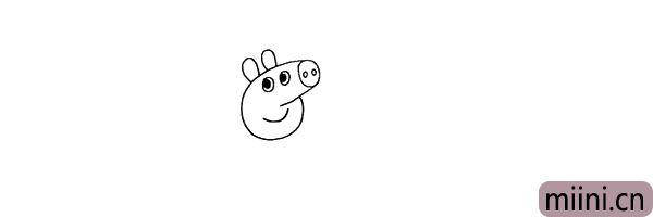 第五步.在头部两侧画出佩奇的两只耳朵。