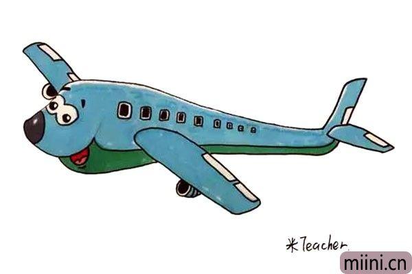 卡通载客飞机的简笔画步骤教程