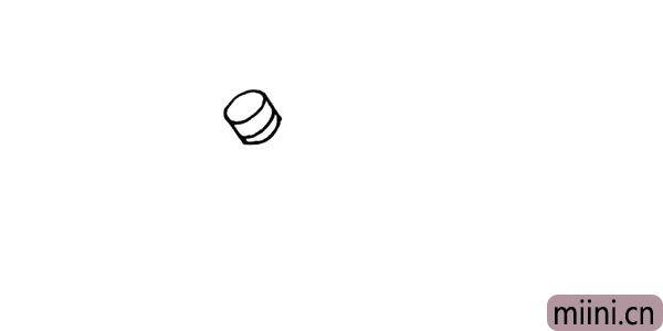 1.首先画一个圆柱形是雪人的帽顶仔细观察。