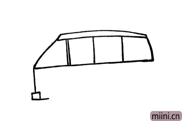 4.接着把车头的位置和车灯给画出来。