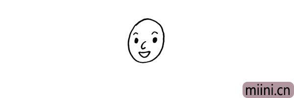 第三步.画出爷爷的鼻子和嘴巴。