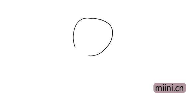 1.首先画出图图的头部.一个倾斜的椭圆形.下方留出缺口。