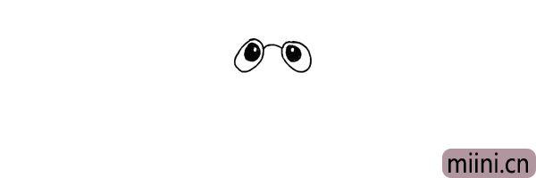 2.然后在眼睛里面画出眼珠.留出高光部分。
