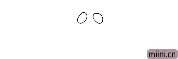 1.首先画出螳螂的大眼睛.两个小椭圆八字形相对。