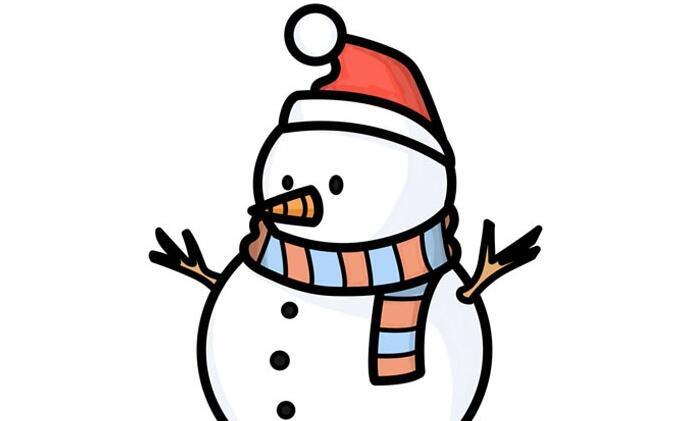 下雪了,推一个雪人简笔画步骤教程