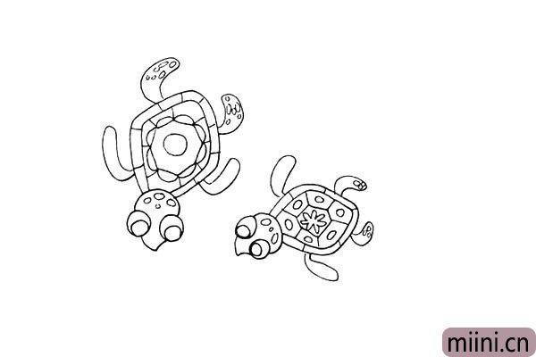 第十步.用同样的画法画出另一只可爱的小海龟。