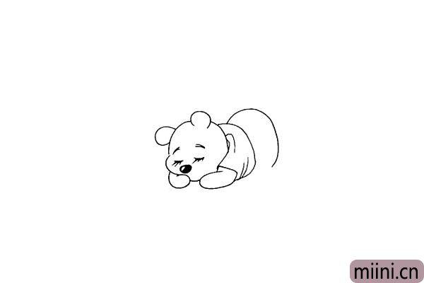 第十一步.画出维尼熊的臀部.是一个半椭圆形。