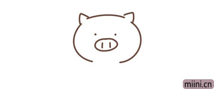 3.然后画出小猪的眼睛和鼻子。