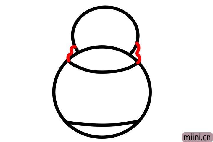 步骤3.在两个圆的交接出画两个类似数字3的形状。