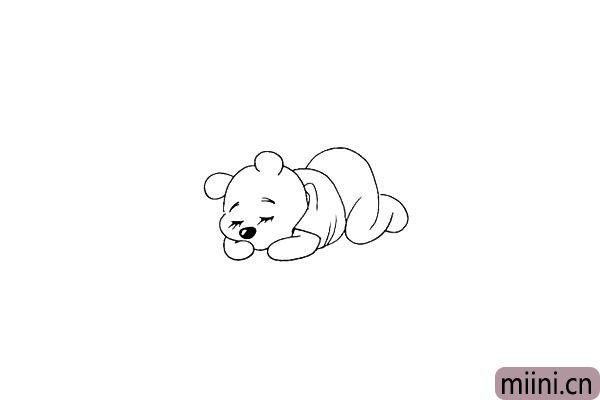 第十二步.画出维尼熊微卷着的双腿。