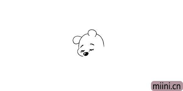 第七步.我们画出维尼熊的大鼻子。