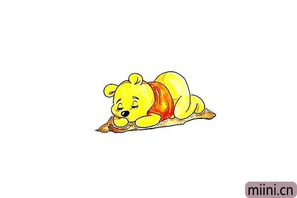 第十五步.最后就可以给可爱的维尼熊涂上颜色了。