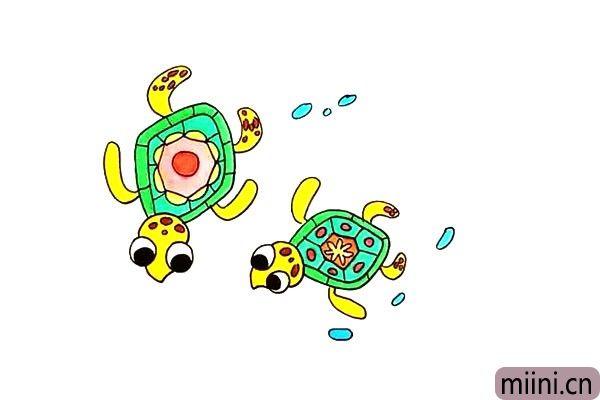 两只正在玩游戏的海龟简笔画步骤教程