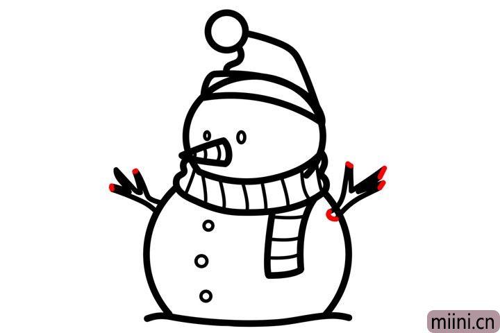 步骤10.画雪人的树枝双手。