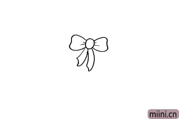 第二步.再向两侧画出一个漂亮的蝴蝶结。