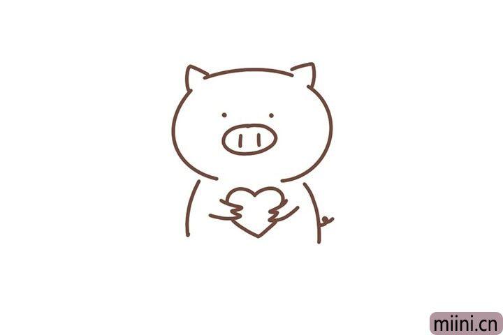 6.小猪的双手抱着一颗爱心。