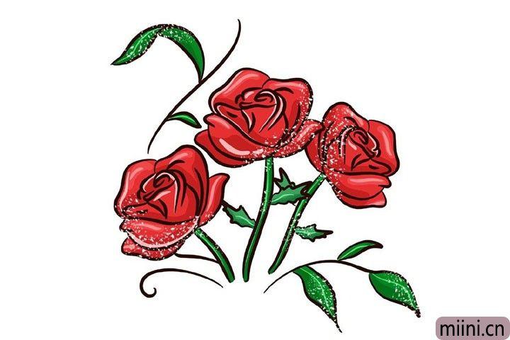 情节人到了,画一个好看的玫瑰花送给自己心爱的人