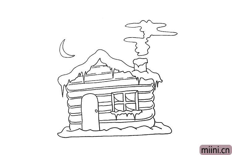 第十四步.然后用线条画出雪屋上面的纹理。