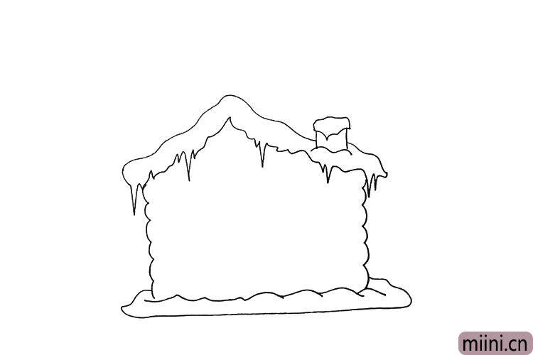 第六步.画出房屋的底座以及边上的积雪。