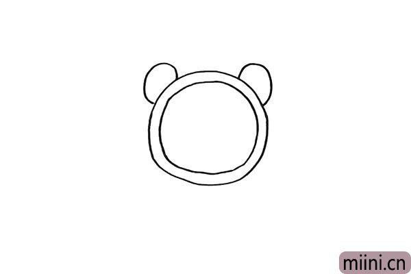 第三步.画出青蛙闹钟顶部的眼睛.像两只耳朵。