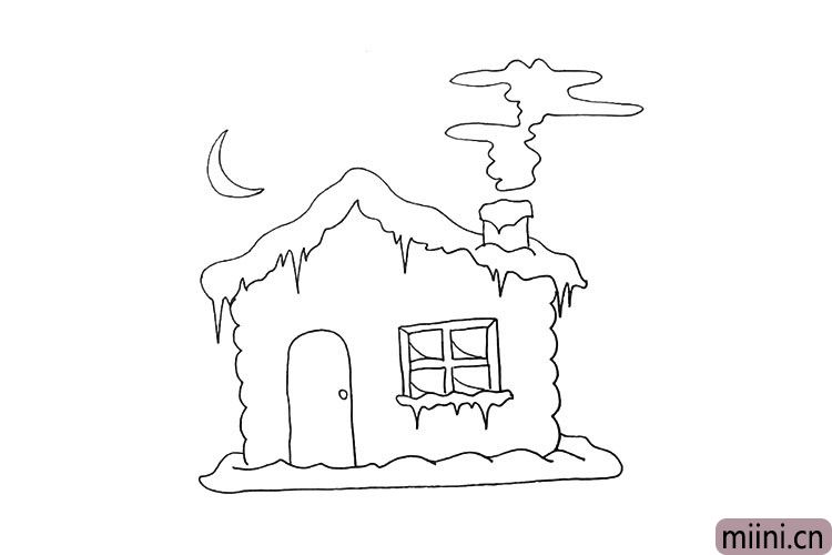 第十三步.再画出雪屋上方镰刀状的月牙。