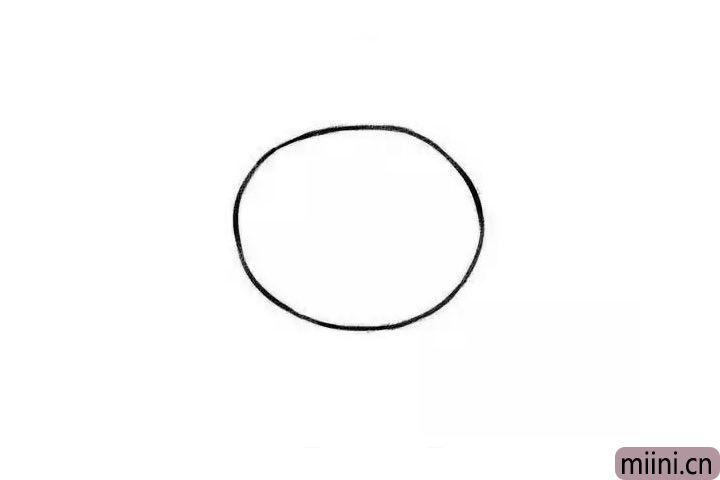 1.首先画出圆圆的脑袋。