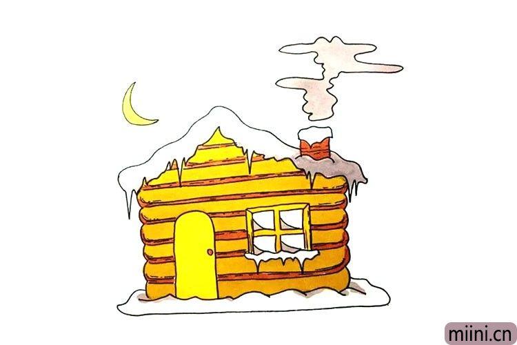 烟囱冒烟的雪屋简笔画步骤教程