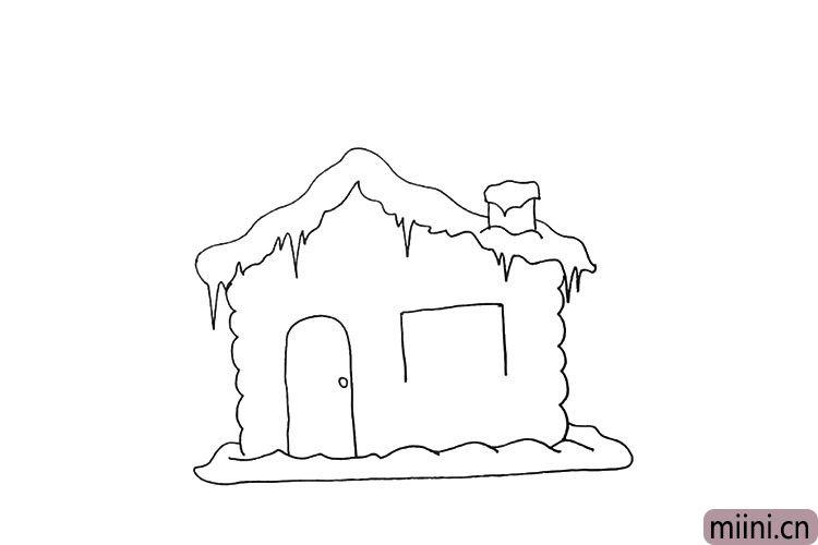 第八步.接着用正方形画出雪屋上的窗户。