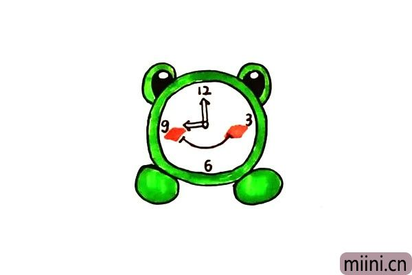 第十步.最后给青蛙闹钟涂上漂亮的颜色吧。