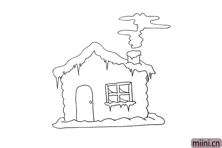 第十二步.用不规则的曲线画出烟囱上的烟雾。