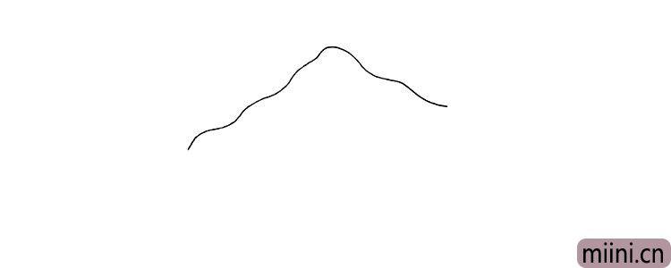 第一步.首先画出山坡形的房顶注意线条的变化。