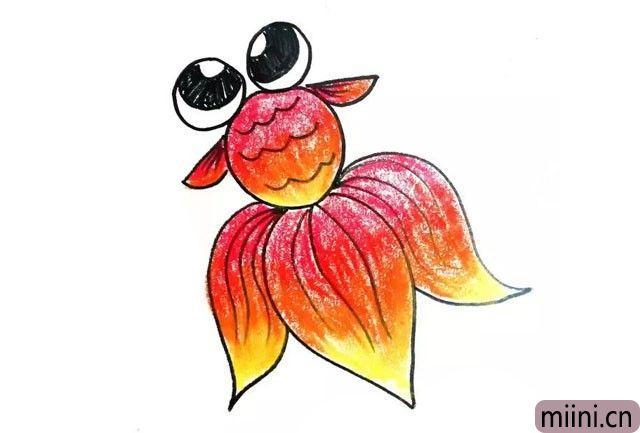 8.最后用油画棒或水彩笔涂上漂亮的原色就画好啦。