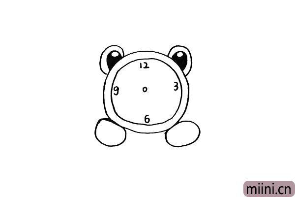 第七步.然后在闹钟上标出时间数字。