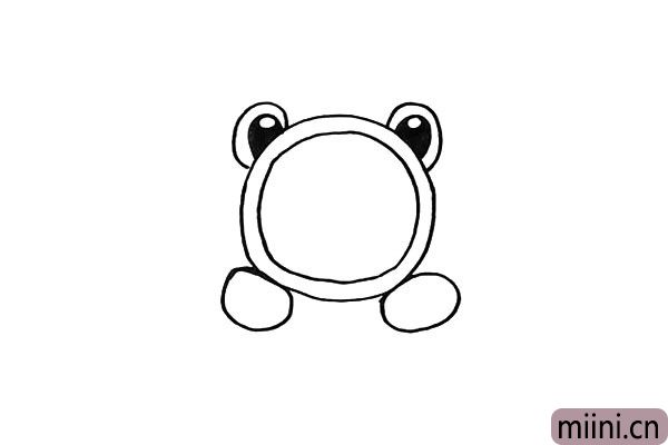 第五步.下面画出青蛙闹钟的两只椭圆的脚。