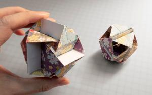 立方八面体变形花球折纸,揉捏变形,超解压