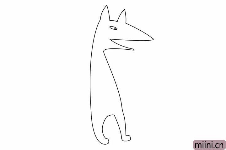 3.接下来我们画大灰狼长长的身体,还有它的两只脚。