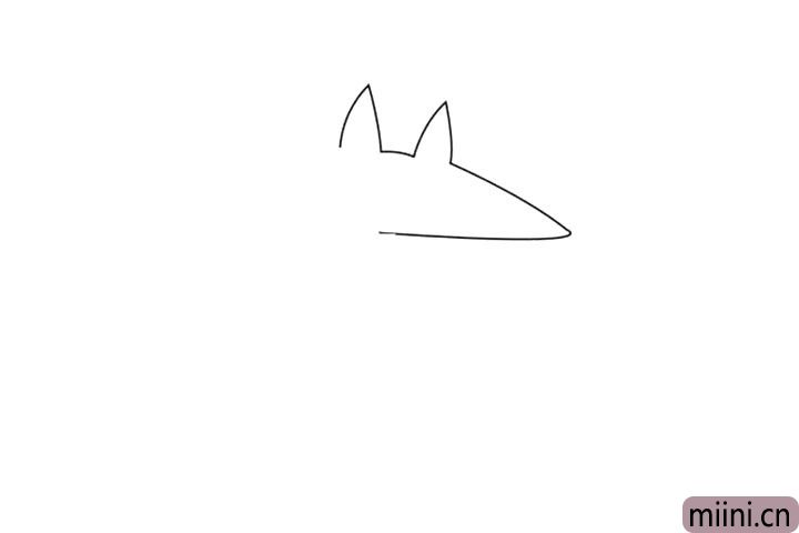 1.小朋友先画大灰狼的轮廓,尖尖的耳朵尖尖的嘴巴,哇,看着就害怕。