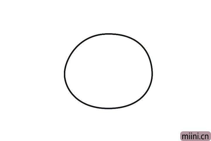 1.先画一个椭圆,作为泰迪熊的头部轮廓。