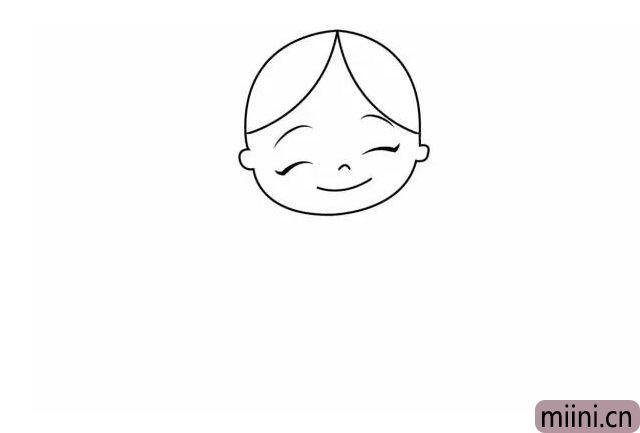 3.小红帽甜甜一笑,觉得事情不简单。 把她的眉毛、眼睛、鼻子、嘴巴画出来哦,都是弯弯的,非常好画。