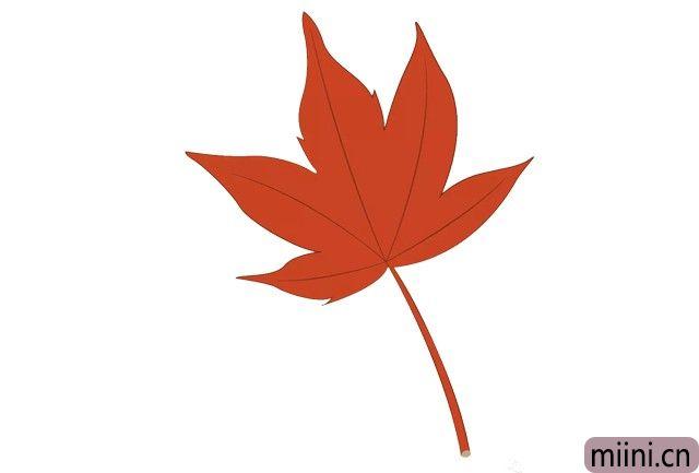 代表秋天的火红的枫叶简笔画步骤教程