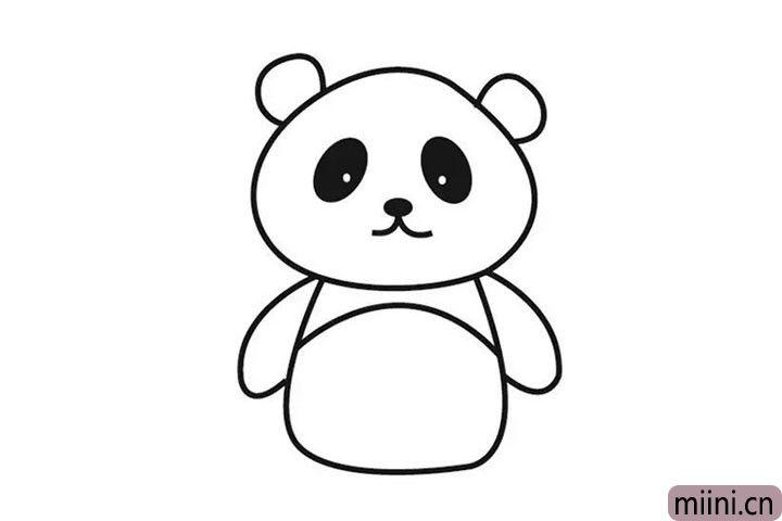 5.在身体上画一条线哦,还有熊猫可爱的手臂