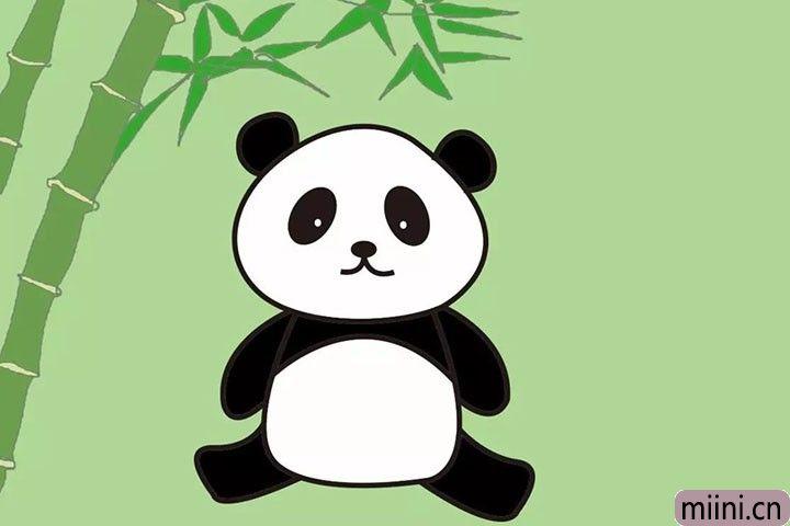 爱吃竹子的国宝大熊猫简笔画步骤教程