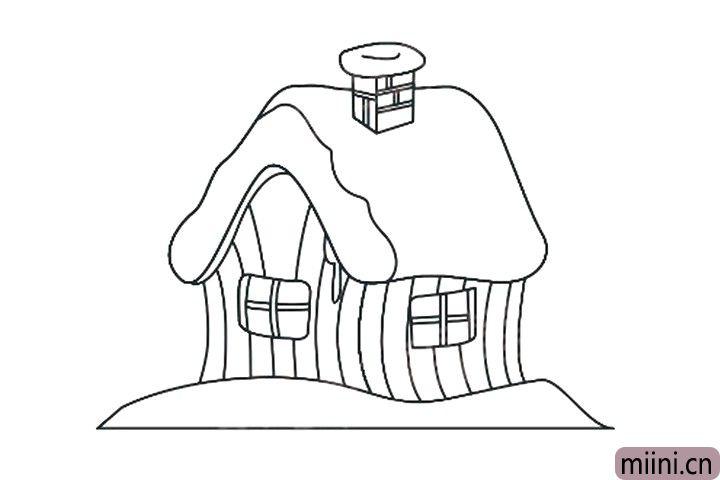 7.房屋墙体用竖线画出木板形状。