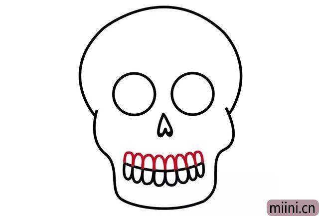 6.在线上面画上牙齿。
