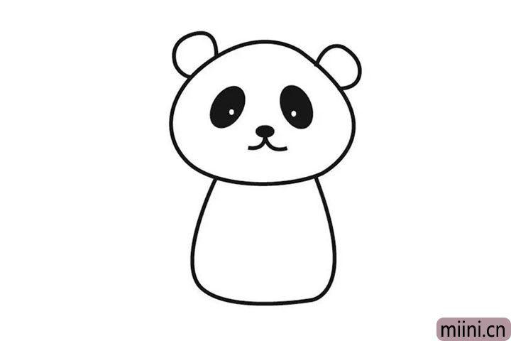 4.然后就画熊猫的身体啦~