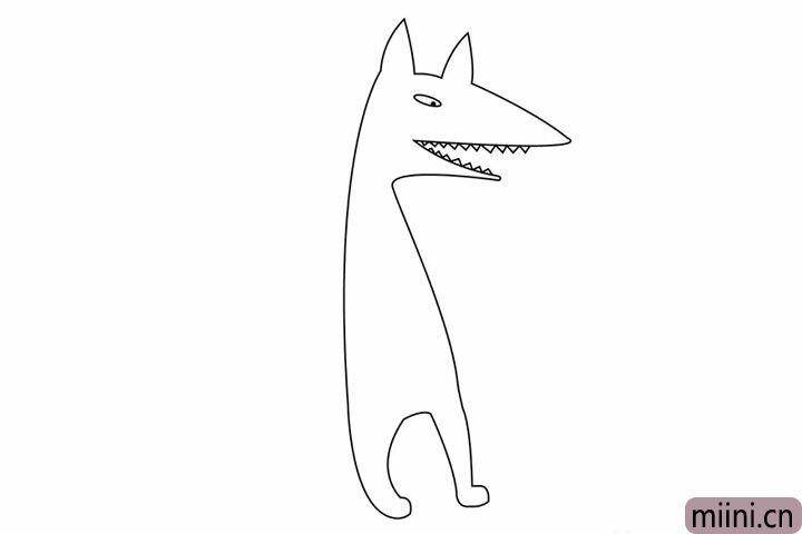 4.大灰狼的牙齿可是非常坚硬的,我们不要忘了画,这可是吃外婆的证据啊~