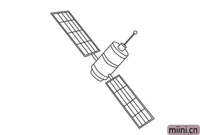 围绕地球转的人造卫星简笔画步骤教程