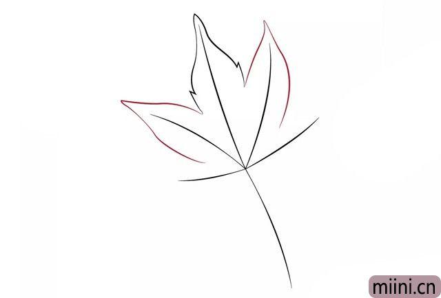 4.分别在两边画上第二层叶子。