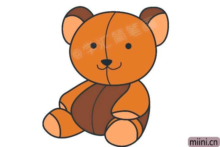 好玩的泰迪熊毛绒玩具简笔画步骤教程